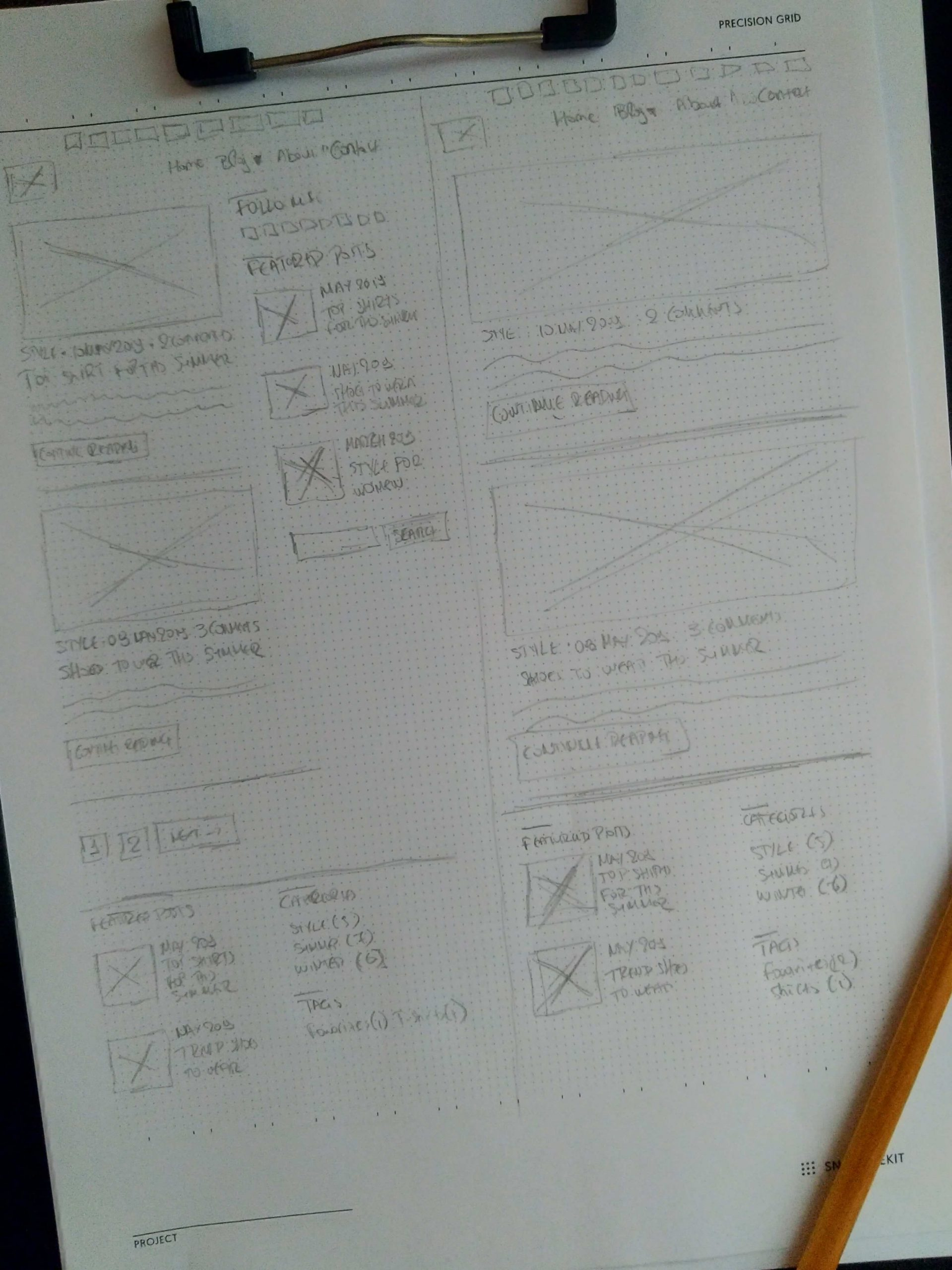 Sketching the fashionclaire blog theme