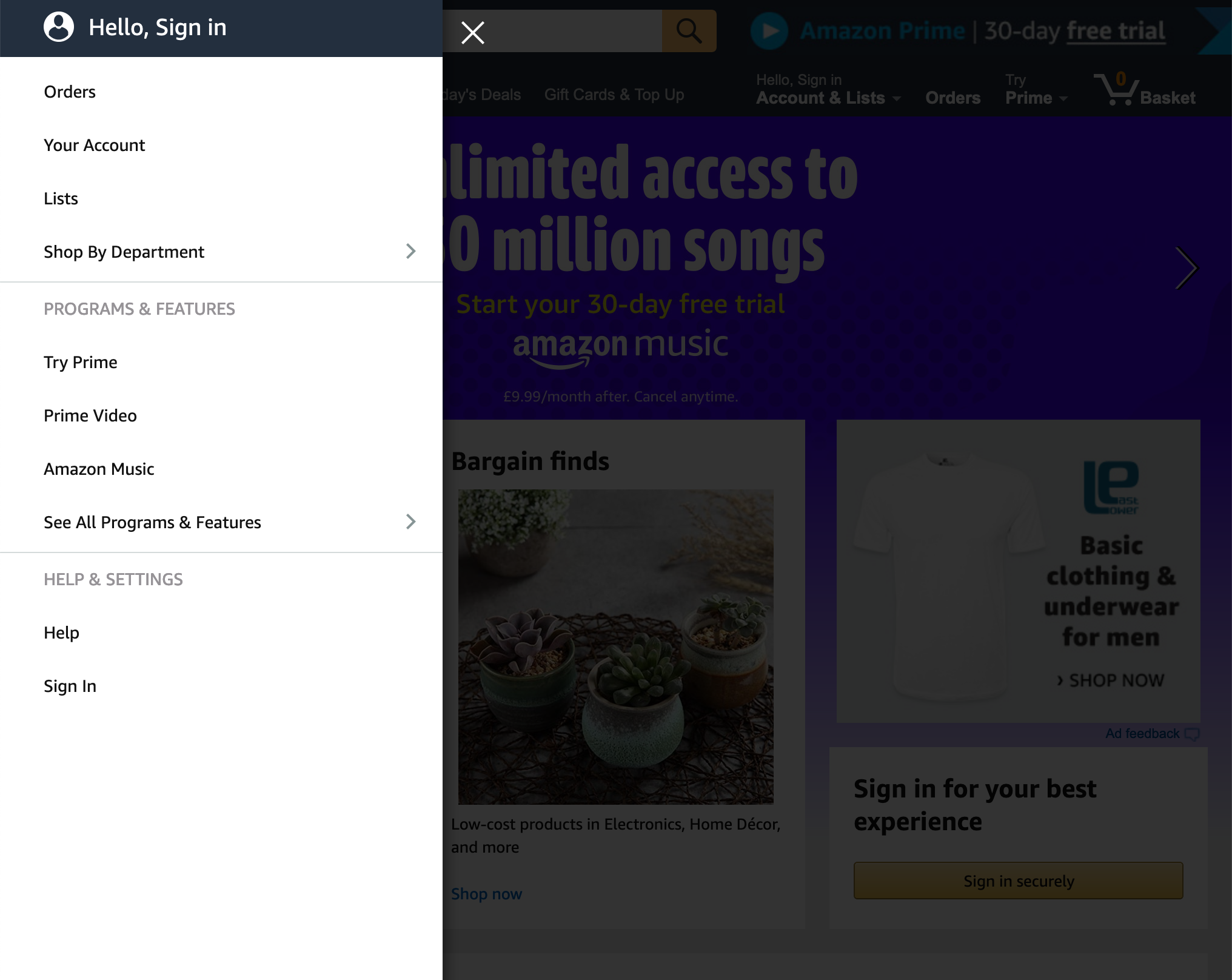 The Vertical Sidebar of Amazon