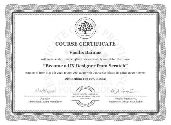 "The Certification Of ""Become a UX Designer From Scratch"""