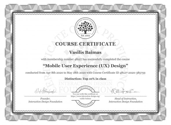 "The Certification Of ""Mobile User Experience (UX) Design"""