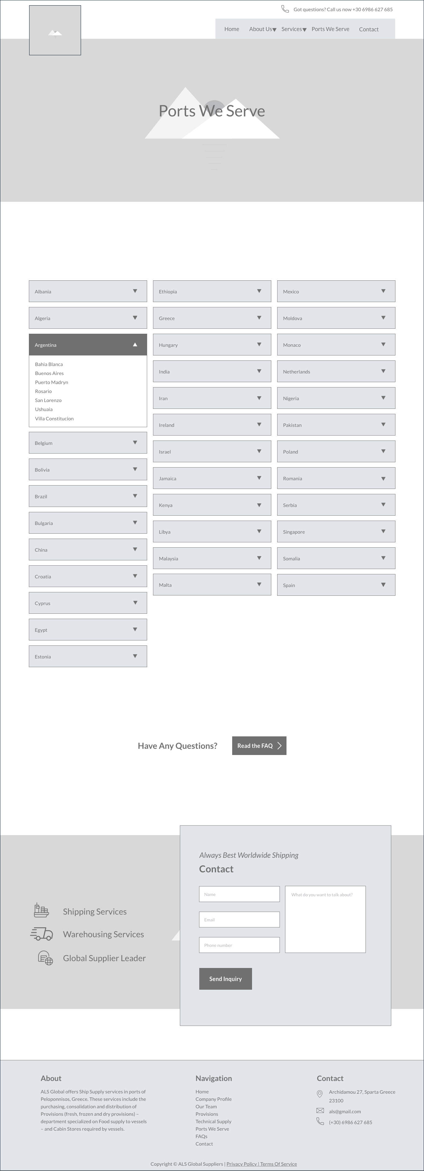 The Mockup Page Of Ports