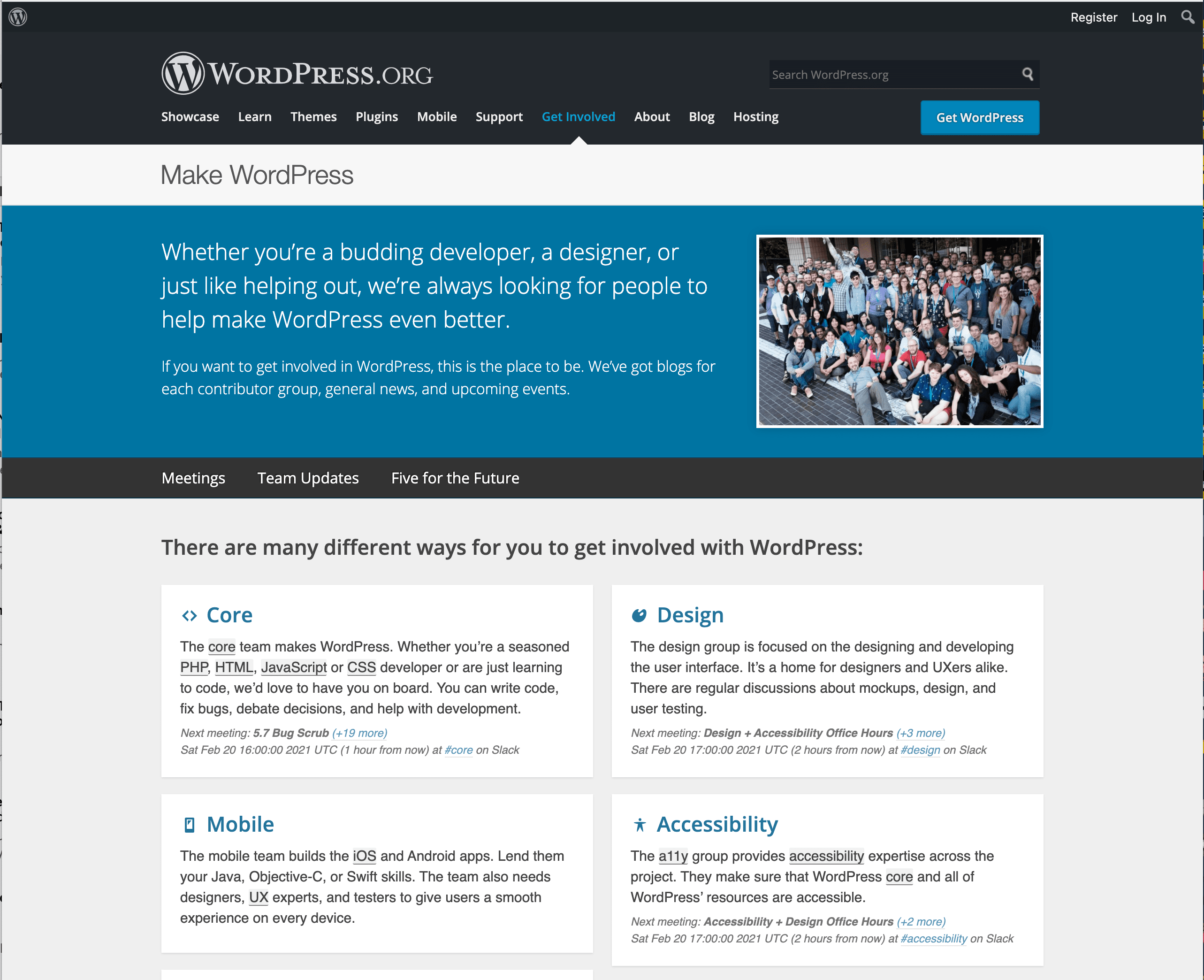 WordPress. The Page Of Get Involved.